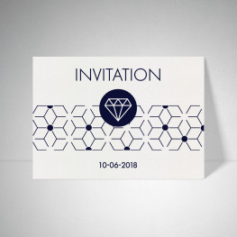 Carte d'invitation Metallics cryogen blanc