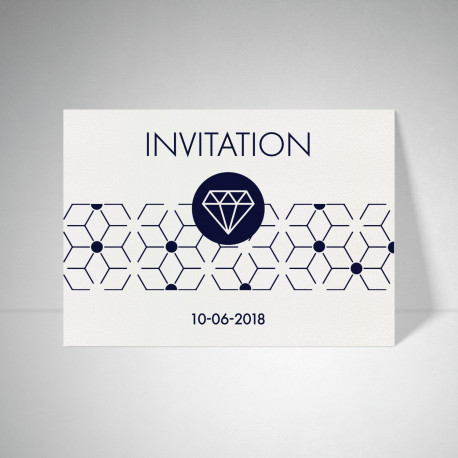 Carte d'invitation Metallics cryogen blanc