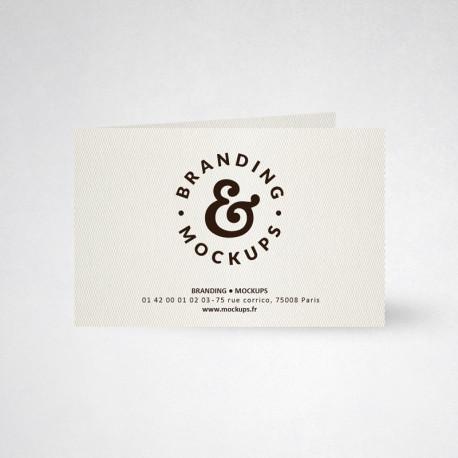 Carte publicitaire double design blanc naturel