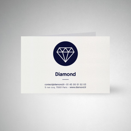 Carte publicitaire double Metallics cryogen blanc