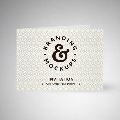 Carte d'invitation double design extra blanc