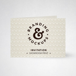 Carte d'invitation double design blanc naturel