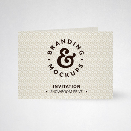 Carte d'invitation double design blanc naturel