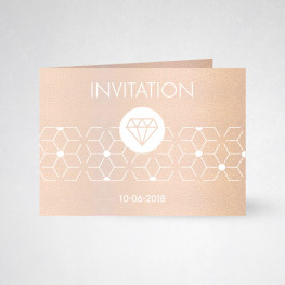 Carte d'invitation double Metallics nude