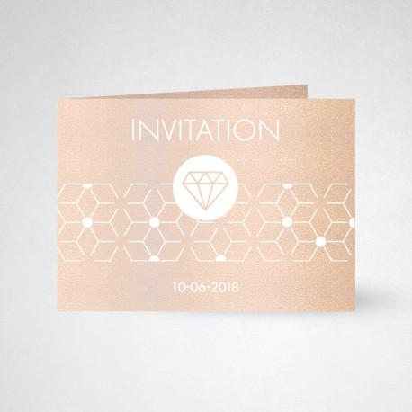 Carte d'invitation double Metallics nude
