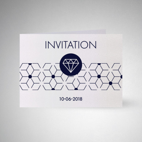 Carte d'invitation double Metallics perle akoya