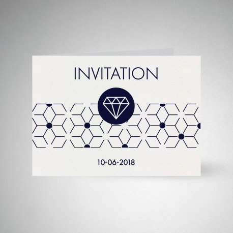 Carte d'invitation double Metallics cryogen blanc
