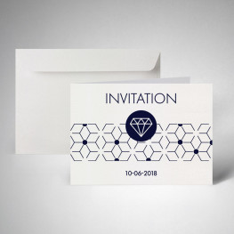 Pack carte d'invitation double metallics cryogen blanc