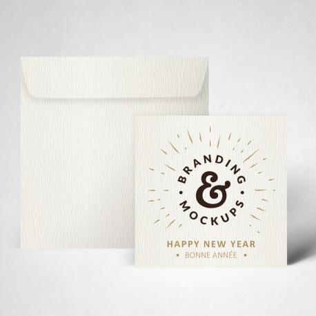 Pack carte de voeux double texturée blanc naturel