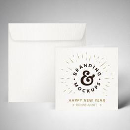 Pack carte de voeux double texturée extra blanc