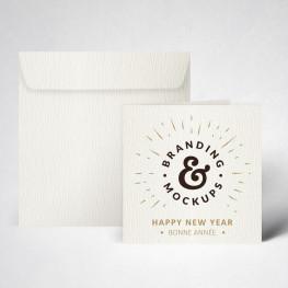 Pack cartes de voeux double texturée blanc naturel